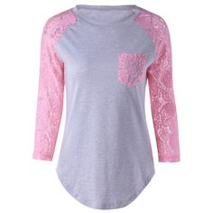 Single Pocket Lace Splicing T-Shirt — 13.03 € -------------------Size: S Color: PINK + GRAY
