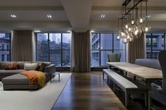 Tribeca Loft - floor to ceiling windows, chandelier. Enjoying elements of this space...