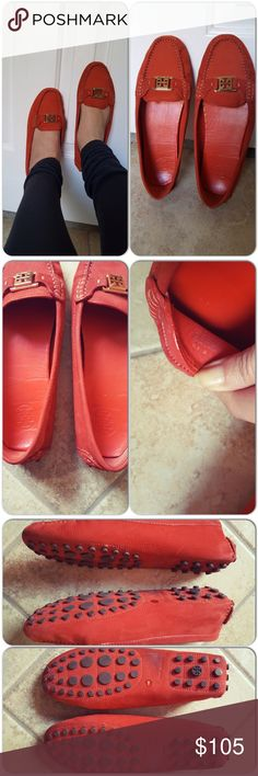 Tory Burch driving shoes Like new condition, worn once, a bit too big for me, i'm a 10 and normally wear size 11 in TB reva flats, but this works for true 10.5 or 11. Beautiful color red orange pebble leather with gold TB emblem. Tory Burch Shoes