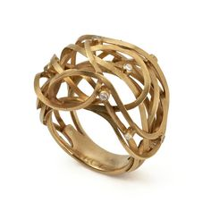 Yellow Gold 'Reed' Ring set with 9 Diamonds. By Francesca Grima