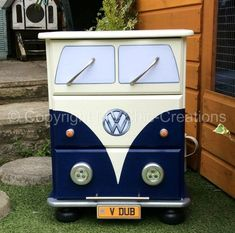 Navy Vintage VW Camper Van Style Chest of Drawers Bedside Table Working LightsDELIVERY AVAILABLEin Poole, DorsetGumtree UK Delivery Available Or Collection from Poole Dorset Unique upcycled Solid Pine chest of drawers. Hand painted, Sealed and varnished. Made to look like a vintage retro VW Campervan. Each drawer is lined with retro camper van paper. Measures approx....