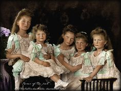 The Grand Duchesses (4) together with Tsarevitch Alexei when he was so young he still wore skirts. Little boys wore skirted baby clothes and graduated to short pants in toddlerhood. Alexei was such a lovely baby with his beautiful curley hair.