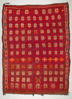 Africa | Rug from the Berber people living in the Marrakesh Plains | ca. 1940 -60 | Wool; knotted pile, braided