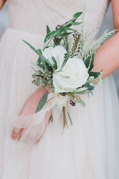 Wedding Crowns : Picture Description Elegant + organic bridesmaid corsage: www. Dusty Pink Bridesmaid Dresses, Bridesmaid Corsage, Corsage Wedding, Wedding Bouquets, Wedding Flowers, Bridesmaid Ideas, Wedding Crowns, Prom Flowers, Bridesmaids