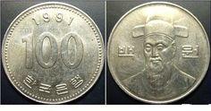 Novo won sul-coreano (1962-em uso) (x) 100 won (1983-em uso) O: efígie de Yin…