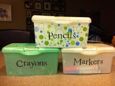 Reuse extra wipes cases for kids art supplies.