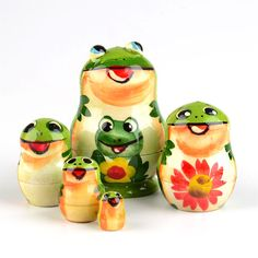 """2"""" Froggy Nesting Doll from http://www.therussianstore.com/Miniature-Small-Tiny-Nesting-Dolls.html"""