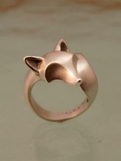 fox ring. sterling silver. satin finish with polished ears, nose, tail tip by Michael Tatom