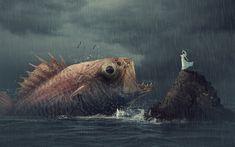 Télécharger fonds d'écran gros poisson, de la mer, de la pluie, de l'art, des rochers, des créatifs