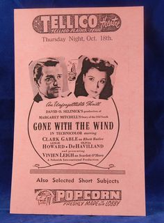 """Vintage Movie Handbill Ad Flyers for """"Gone With the Wind, """"Batman"""", """"Flying Leathernecks"""", """"Allegheny Uprising"""", and """"Rock Around the Clock"""" by InGrammasAttic on Etsy"""