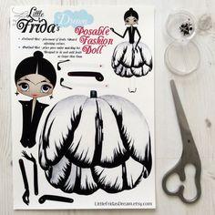 "Little Frida's Dream Articulated Paper Doll 12"" Tall (Flora Botanica Design 2)"