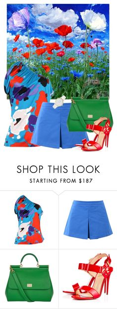 """666."" by natlik ❤ liked on Polyvore featuring John Galliano, Love Moschino, Dolce&Gabbana, Christian Louboutin, Kate Spade, summerlook, summerbrights, summer2016, colorsinspiration and cleartypecolors"