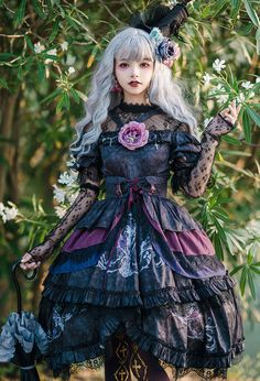 Gothic fashion 286893438750393124 - Nikki Tomorrow -The Wild Witch- Gothic Lolita JSK, Corset and Blouse Source by Punk Rock Outfits, Gothic Outfits, Emo Outfits, Cute Outfits, Estilo Lolita, Lolita Cosplay, Witch Cosplay, Harajuku Fashion, Kawaii Fashion