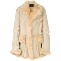 R13 shearling coat ($7,145) ❤ liked on Polyvore featuring outerwear, coats, sheep fur coat, beige coat and shearling coat