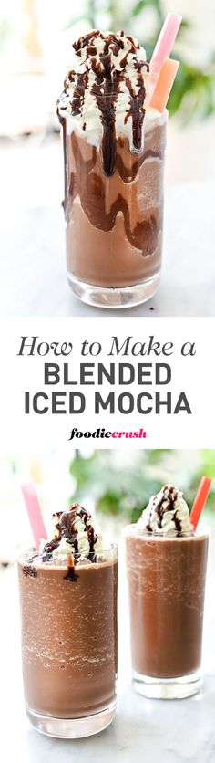 This homemade version of everyone\'s favorite blended coffee drink with mocha is so easy once you get the ratio right | foodiecrush.com #almondmilk #ad #mocha #coffee