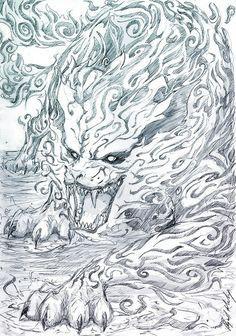 Drawing Man -Matatabi- by Abz-J-Harding on deviantART - Anime Naruto, Manga Anime, Naruto Shippuden Anime, Naruto Art, Manga Art, Boruto, Naruto Drawings, Japanese Tattoo Art, Yakuza Tattoo
