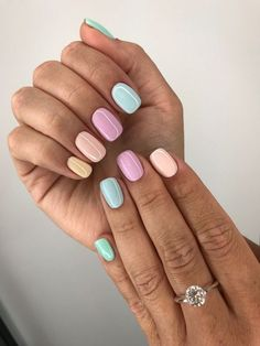 Nail - 47 Most Eye-catching And Gorgeous Light Colour Nails Design With Different Color. - - 47 Most Eye-catching And Gorgeous Light Colour Nails Design With Different Colors For Beginner - Nail Idea Lιɠԋƚ Cσʅσυɾ Nαιʅʂ 💖 Trendy Nails, Cute Nails, My Nails, Prom Nails, Cute Short Nails, Nails 2018, Smart Nails, S And S Nails, Short Nails Art