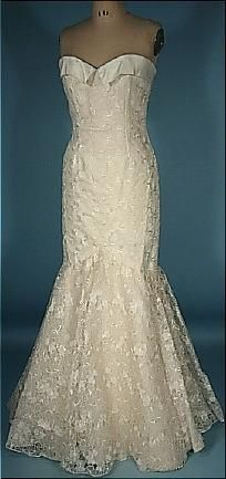 """c. 1990's NOLAN MILLER COUTURE Ivory Embroidered Open Lace Organdy """"Mermaid"""" Slightly Trained Gown! $1,250. There are two gowns left: Gown #1 Measures:  32"""" bust, up to 26/27"""" waist, up to 37"""" hips, best for 5'2"""" gal.  Gown #2 Measures: 31/32"""" bust, up to 26"""" waist, best for taller gal 5'6""""+"""