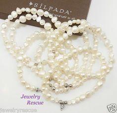 Silpada-Goddess-STRETCH-Bracelet-Set-of-7-Pearl-925-Sterling-Silver-B1601-D
