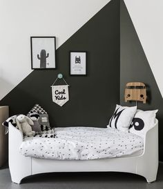 black and white monochrome kids room