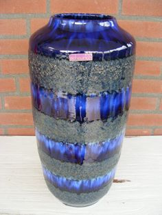Stunning blue Scheurich Fat Lava floorvase by RetroVases on Etsy