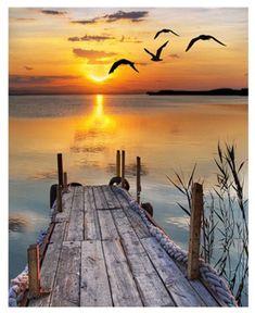 Full Square/Round drill DIY Diamond painting Sunrise by the wharf Diamond Embroidery Mosaic scenery Cross Stitch Rhinestone decor Beautiful World, Beautiful Places, Beautiful Beach, Beautiful Scenery, Stunning View, Beautiful Sunset Pictures, Peaceful Places, Beautiful Sunrise, Amazing Nature