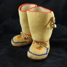 Native American Beadwork  Floral Design Baby Moccasins
