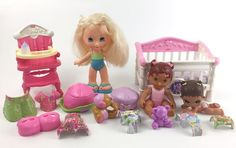 Snap N Style Doll Lot Baby Toddler w Crib Highchair Accessories Clothing  | eBay