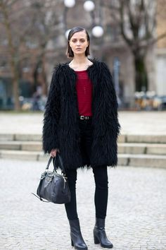 #MartaDyks and her fab fur #offduty in Milan.