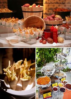 What could be more delicious then a French fry station?! Offer a variety of fries from curly to waffle to sweet potato and don't forget the condiments! Ketchup, honey mustard, truffle mayo anything goes with this fun food station!