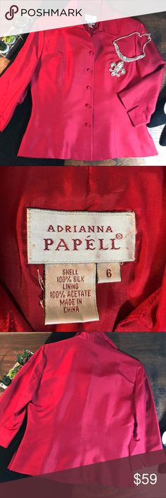 Adrianna Papéll Red Silk Lined Jacket Please see photos for bust/length measurements as well as fabric/care instructions. Beautiful and in EUC. Perfect with the black vintage evening skirt (sold separately). Fully lined. Shoes and necklace also sold separately.  Perfect for holidays!       {loc3e} Adrianna Papell Jackets & Coats
