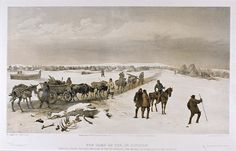 'The Camp of the 1st Division', by William Simpson, 1854 (lithograph). Subtitled 'Looking North towards the Camp of the 2nd Division - the Heights of Inkermann in the Distance'. William Simpson (1823-99) was a Scottish painter who became noted for his depictions of the Crimean War (1853-6)