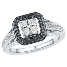 Women's Black & White Diamond Accent Prong/Miracle Set Fashion Ring in Sterling Silver