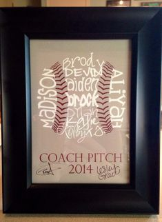 Perfect for a quick softball coaches gift since banquet is like a week away no time lack of imagination and fun Baseball Coach Gifts, Baseball Crafts, Softball Gifts, Baseball Boys, Softball Mom, Baseball Shirts, Cheerleading Gifts, Basketball Gifts, Softball Stuff