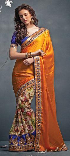 146513: Georgette, Chiffon, Zari, Border, Lace, Printed, Machine Embroidery saree floral FlowerPower