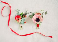 Anemone boutonniere: http://www.stylemepretty.com/2014/02/17/romantic-red-wedding-inspiration/ | Photography: KT Merry - http://www.ktmerry.com/
