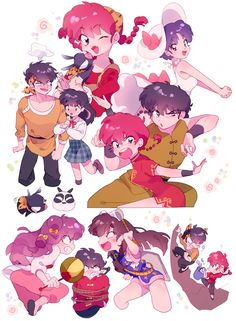 There's Akari with Ryoga. She's only in the manga but somehow fandom has settled on that pink stripe. Old Anime, Manga Anime, Anime Art, Fan Art, Manga Story, Animes On, Card Captor, Dibujos Cute, Ex Machina