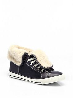 Tory Burch Benjamin Shearling-Lined Calf Hair Sneakers on shopstyle.com