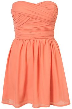 TOPSHOP Chiffon Bandeau Dress by RARE UK 12 in Coral New | eBay
