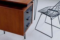 pastoe-desk-black-drawers-teak-hairpin-wire-legs-braakman-fifties-design-dutch-4 Black Drawers, Black Desk, Drawer Design, Metal Working, Magazine Rack, Hairpin, Cabinet, Storage, Teak