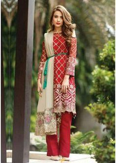 Casual Wear Red Georgette Salwar Suit  - FA411-09