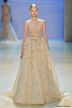 georges hobeika fall 2014 2015 couture romantic wedding dress with beaded illusion neckline  #runway #fashion