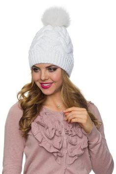 5c878599ca4 White knit hat Pom pom hat with fur white Womens pom beanie Womens Winter  knitted Beanie winter hat with fur ball on top Pom pom ski hats