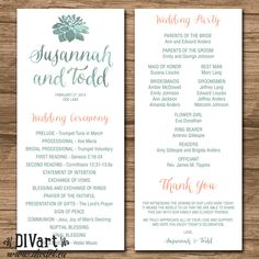 Succulent Wedding Program, Ceremony Program - PRINTABLE files - rustic wedding, watercolor succulent, green and coral - Sonja by DIVart on Etsy https://www.etsy.com/listing/224130670/succulent-wedding-program-ceremony