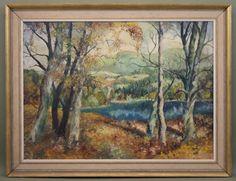 Large Antique V. I. Payne American Impressionist Landscape Forest Oil Painting #Impressionism