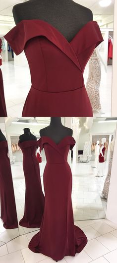off the shoulder burgundy long prom dress, 2018 burgundy prom dress with slit, formal evening dress