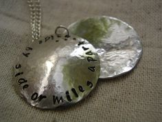 'Hand Stamped Locket Necklace Best Friends Sister Mother' is going up for auction at 12pm Sun, Jul 15 with a starting bid of $25.
