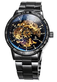 1dd0130bd48 Alienwork IK Automatic Watch Self-winding Skeleton Mechanical Stainless  Steel black black