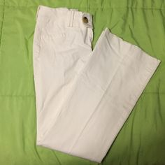 Banana Republic White Dress Pant Stretchy material, only worn ONCE! They were too short for me. I tried to hand them down to my mom but they were too small! No stains! I know white material with no stains! It's a hot commodity! :) Banana Republic Pants Trousers