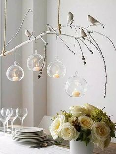 tree branch decor ideas for lighting with candle and birds over dining table : Branch Decor Ideas For Home. branch decor wall art,branch home decor,branch wall decor,decorating the home,tree branch decor Branch Chandelier, Branch Decor, Branch Art, Chandelier Ideas, Bird Branch, Hanging Candle Chandelier, Homemade Chandelier, Tree Branch Crafts, Unique Chandelier
